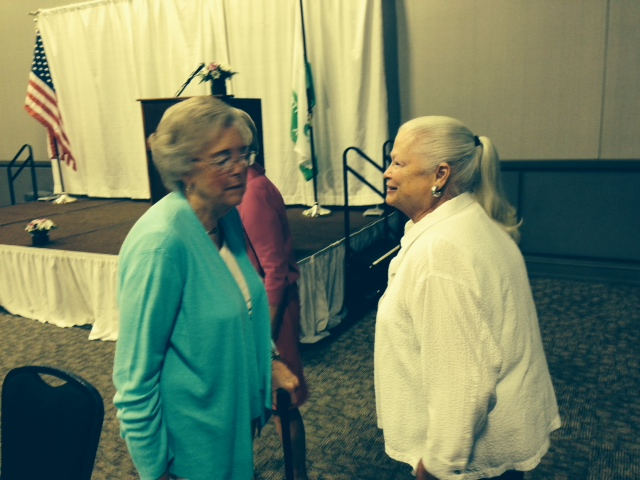 Ruth Jurenko and Anne Lewis enjoyed visiting at the recent luncheon
