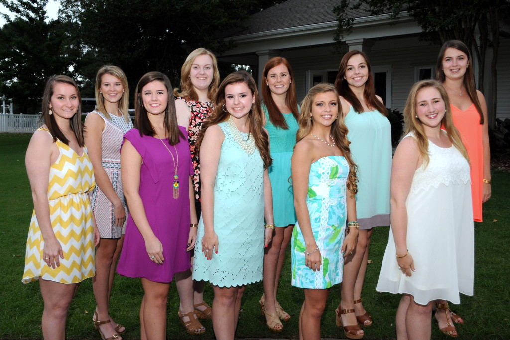 Front row, left to right:   Stephanie Gilbert, Katie Vest, Katie Russell, Mary Margaret Ragland, Mary Scott Pearson   Back row, left to right:   Lauren Stevens, Cate Rasco, Sarah Gwin Moore, Hughston May, Mary Gray Lindstrom