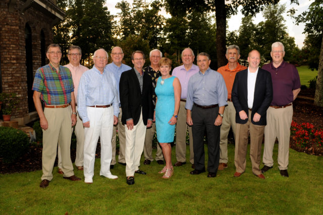 Left to Right: Dr. John Cox, Byrd Latham, Randy Roper, Linda Akenhead, Warne Heath, Michael Timberlake Row 2: Left to right: Jerry Nutt, Dan Halcomb, Dr. Doug Patz, John Switzer, Larry Thomas, Dr. Steven Smith