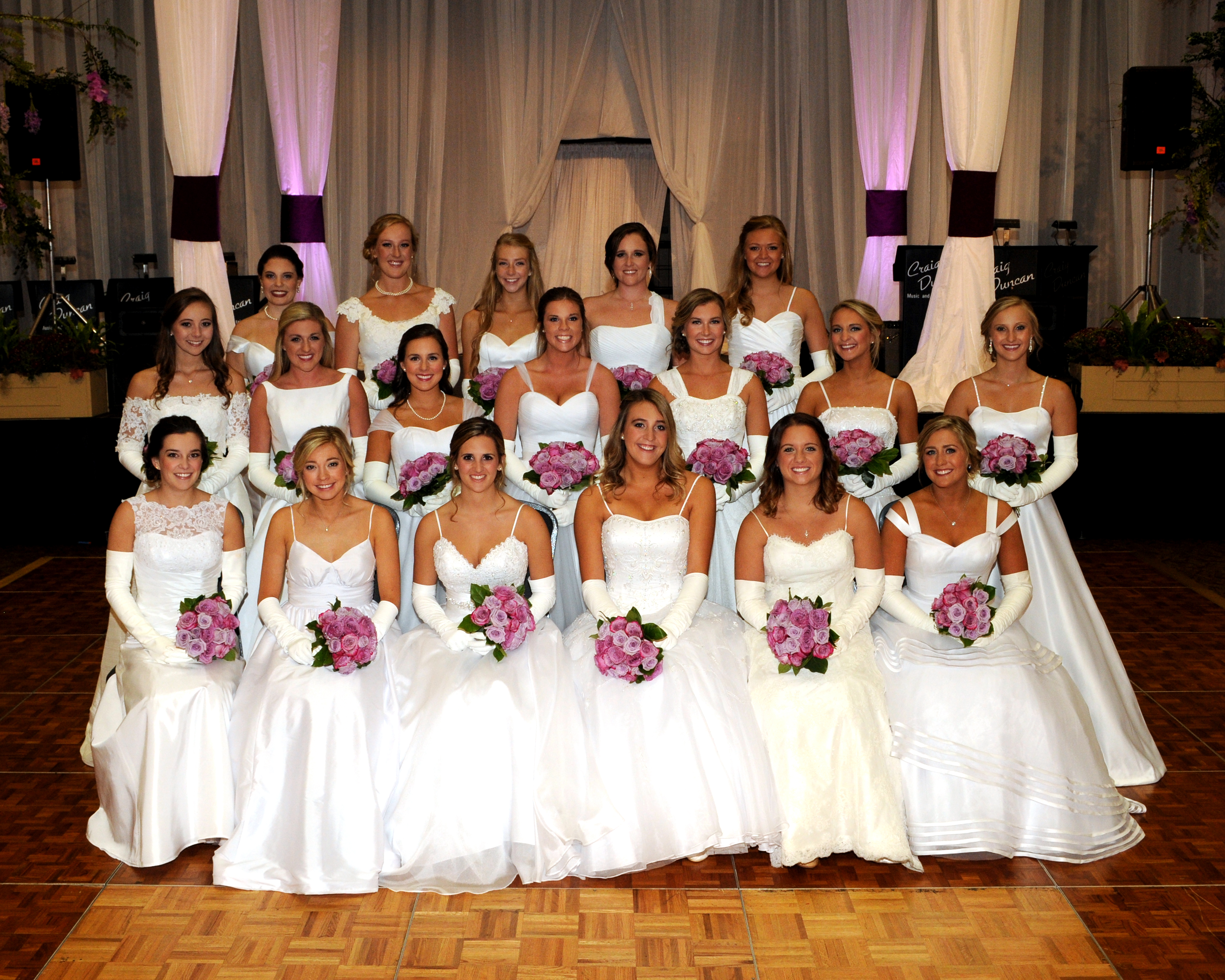 Front Row: (left to right) Ann Christian Brown, Sarah Elizabeth Moshier, Elise Marie Greco, Susan Michelle Caudle, Bailey Alexandra Bentley, Emily Adair Evans Second Row: (left to right) Kathryn Diane Griffin, Susanne Hames McCrary, Kate Noble Wheeler Hall, Karen Tindall Morring, Lauren Alexandra Neighbors, Amanda Katherine Malone, Hannah Caroline Martz Third Row: (left to right) Patton Lee Park, Harriet Rhett Crosby, Lily Madeleine Hendrix, Peyton Ann Mickle, Hannah Leigh Splawn